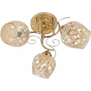 ORO - Klausen - 3 búrás, arany, díszített, kristály hatású mennyezeti lámpa - üveg/fém - arany/bézs - IP20 - 3xE27, 3x11W
