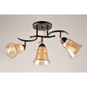 PEACH - Klausen - 3 domborított búrás, díszített karú borostyán mennyezeti lámpa - üveg/fém - borostyán/fekete/arany - IP20 - 3xE27