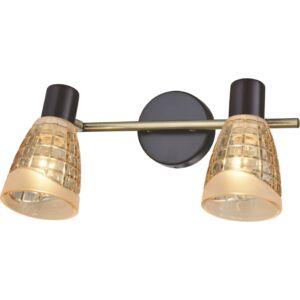 PINTO - Klausen - 2 búrás, arany, kristály hatású és díszített falikar - üveg/fém - antik réz/wenge - IP20 - 2xE14, 2x7W