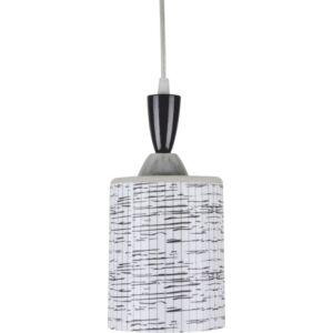 QUAKE - Klausen - Modern, csíkos függeszték - üveg/fém - króm/fekete/fehér - IP20 - 1xE27, 1x11W