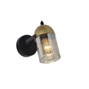RAFAD - Klausen - Modern, áttetsző búrájú füstös arany falikar - üveg/fém - füstös/fekete/arany - IP20 - 1xE27