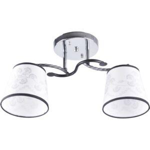 RALLA - Klausen - 2 búrás, modern, fekete-fehér díszített mennyezeti lámpa - üveg/fém - króm/fehér - IP20 - 2xE27, 2x11W