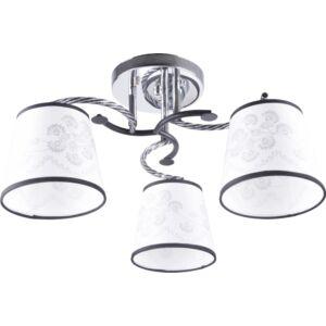 RALLA - Klausen - 3 búrás, modern, fekete-fehér díszített mennyezeti lámpa - üveg/fém - króm/fehér - IP20 - 3xE27, 3x11W