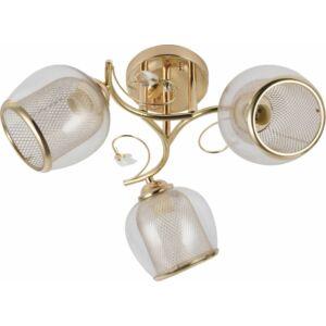RANGE - Klausen - 3 dupla búrás, rácsos és átlátszó arany hatású mennyezeti lámpa - üveg/fém - arany - IP20 - 3xE27, 3x11W