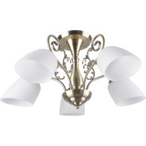 ROBYN - Klausen - 5 búrás klasszikus, ovális mennyezeti lámpa - üveg/fém - bronz/fehér - IP20 - 5xE27, 5x11W