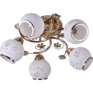 ROSA - Klausen - 5 búrás klasszikus, virágokkal díszített mennyezeti lámpa - üveg/fém - arany/fehér - IP20 - 5xE27, 5x11W