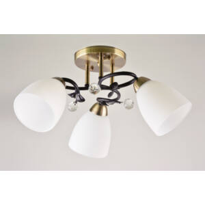 SIMPI - Klausen - 3 búrás, modern mennyezeti lámpa apró díszítésekkel - üveg/fém - bronz/fekete/fehér - IP20 - 3xE27