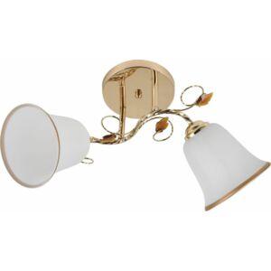 SPOOL - Klausen - 2 búrás harang alakú, aranyozott mennyezeti lámpa - üveg/fém - fehér/arany- IP20 - 2xE27, 2x11W