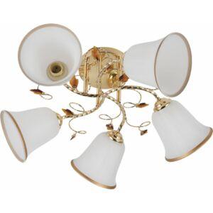 SPOOL - Klausen - 5 búrás harang alakú, aranyozott mennyezeti lámpa - üveg/fém - fehér/arany- IP20 - 5xE27, 5x11W