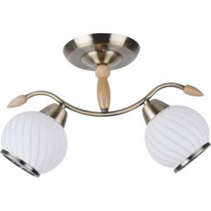 STRIPES - Klausen - 2 búrás csíkos mennyezeti lámpa - üveg/fém - fehér/bronz - IP20 - 2xE27, 2x11W