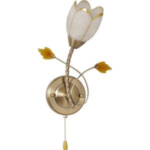 SUDAN - Klausen - Klasszikus, virág alakú falikar húzókapcsolóval - üveg/fém - bronz/fehér/arany - IP20 - 1xE14