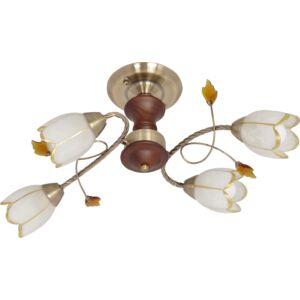 SUDAN - Klausen - 4 búrás, klasszikus, virág alakú mennyezeti lámpa - üveg/fém/fa - bronz/fehér/arany/cseresznyefa - IP20 - 4xE14