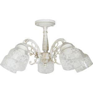 STING - Klausen - 5 búrás vintage, antikolt, díszített csillár - üveg/fém - antik fehér- IP20 - 5xE27, 5x11W