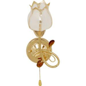 TOGO - Klausen - Klasszikus, tulipán alakú falikar húzókapcsolóval - üveg/fém - fehér/arany - IP20 - 1xE14