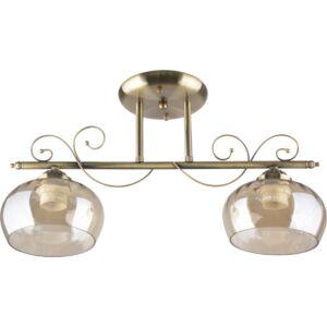 TONI - Klausen - 2 búrás klasszikus, átlátszó mennyezeti lámpa - üveg/fém - bronz - IP20 - 2xE27, 2x11W