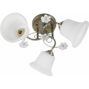 TULIPA - Klausen - 3 búrás harang alakú, díszített mennyezeti lámpa - üveg/fém - bronz/fehér - IP20 - 3xE27, 3x11W