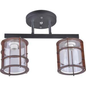 TWINE - Klausen - 2 búrás modern, rácsos mennyezeti lámpa - üveg/fém - fekete/barna - IP20 - 2xE27, 2x11W