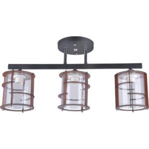 TWINE - Klausen - 3 búrás modern, rácsos mennyezeti lámpa - üveg/fém - fekete/barna - IP20 - 3xE27, 3x11W