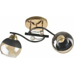 THEME - Klausen - 2 búrás modern, borostyán-fekete díszített mennyezeti lámpa - üveg/fém - borostyán/fekete - IP20 - 2xE27, 2x11W