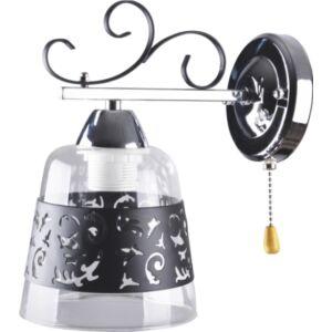 VELVET - Klausen - Modern fekete, díszített falikar húzókapcsolóval - üveg/fém - króm/fekete - IP20 - 1xE27, 1x11W