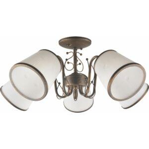 ZONTA - Klausen - 5 búrás, klasszikus bronz-fehér csillár - üveg/fém - fehér/barna - IP20 - 5xE27, 5x11W