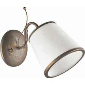 ZONTA - Klausen - Klasszikus bronz-fehér falikar - üveg/fém - fehér/barna - IP20 - 1xE27, 1x11W