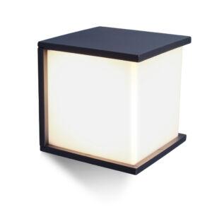 Boksz Cube square kültéri fali lámpa 1 light E27 dark grey
