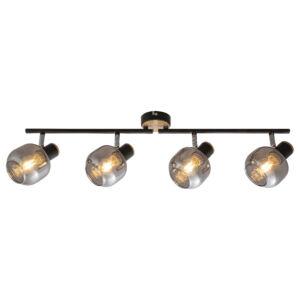 spot lámpa- fekete+tölgy mintázat- füst üveggel E14 4X MAX 40W