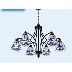 Tiffany  csillár mediterrán hangulatban kék - 6 búrával - Stl