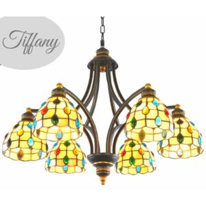 Tiffany  csillár mediterrán hangulatban sárga -  Gyöngyök 5  búrával - Stl