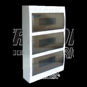 Tracon - Falon kívüli elosztódoboz füstszínű ajtóval, N/PE sínnel