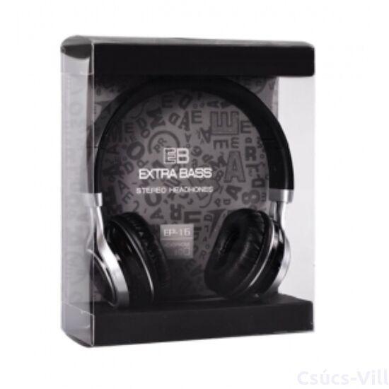 Remax- Audio Extra Bass mikrofonos fejhallgató- fekete
