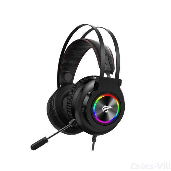 Havit- gamer vezetékes fejhallgató, RGB, USB - fekete