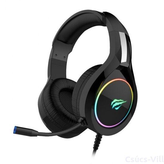 Havit- gamer vezetékes fejhallgató mikrofonnal, RGB+3,5mm jack- fekete