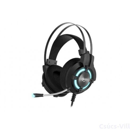 Havit- gamer vezetékes fejhallgató mikrofonnal, RGB- fekete