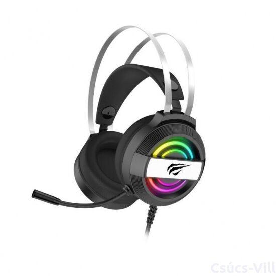 Havit- gamer vezetékes fejhallgató USB+3,5mm, RGB- fekete