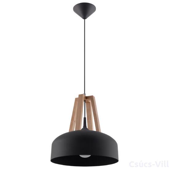 Sollux - Függeszték lámpa - CASCO Fekete/natúr fa