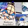 Kép 7/9 - Tiffany  csillár mediterrán hangulatban kék - 3 búrával - Stl